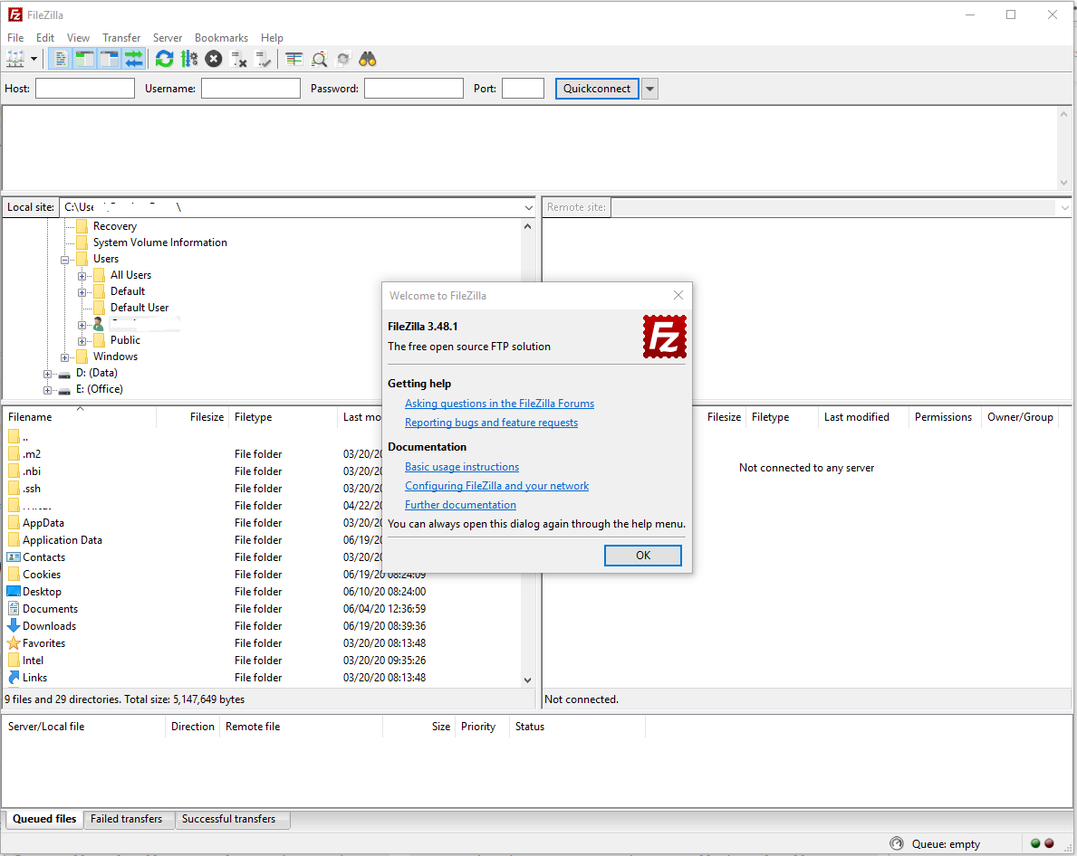 Install FileZilla On Windows 10 - Default Screen