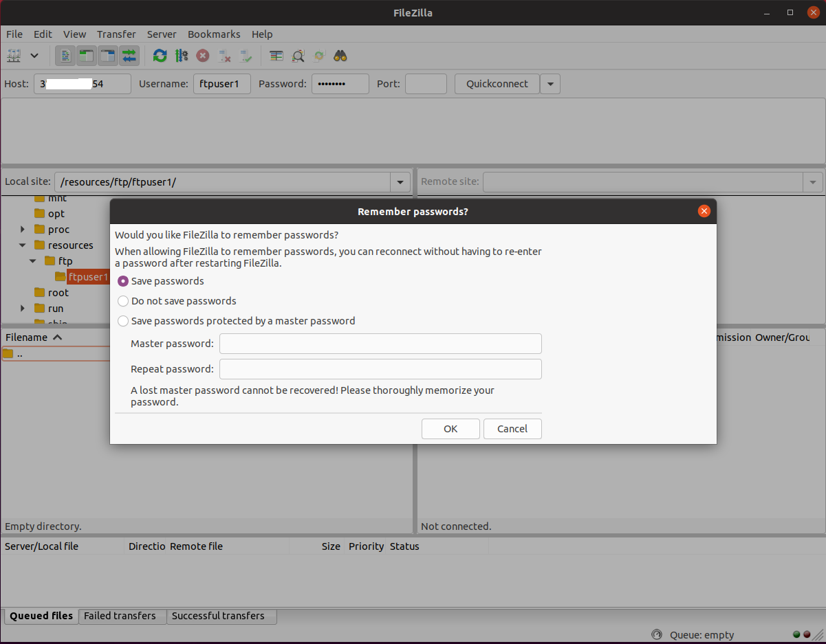 Install FileZilla On Ubuntu 20.04 LTS - Store Passwords