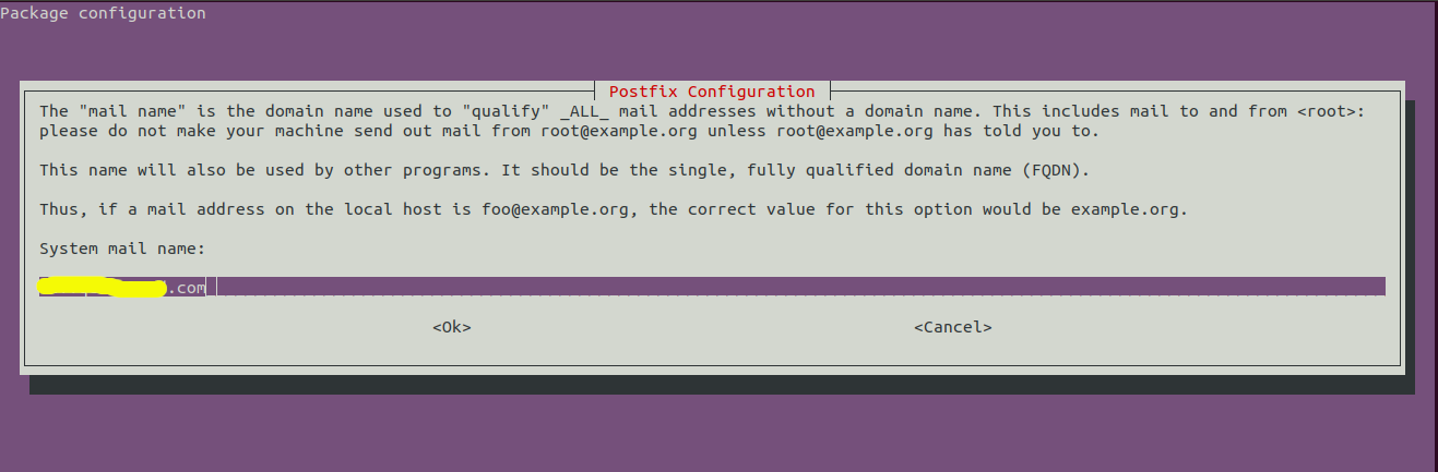 Install Postfix On Ubuntu 20.04 LTS - Configuration - Hostname