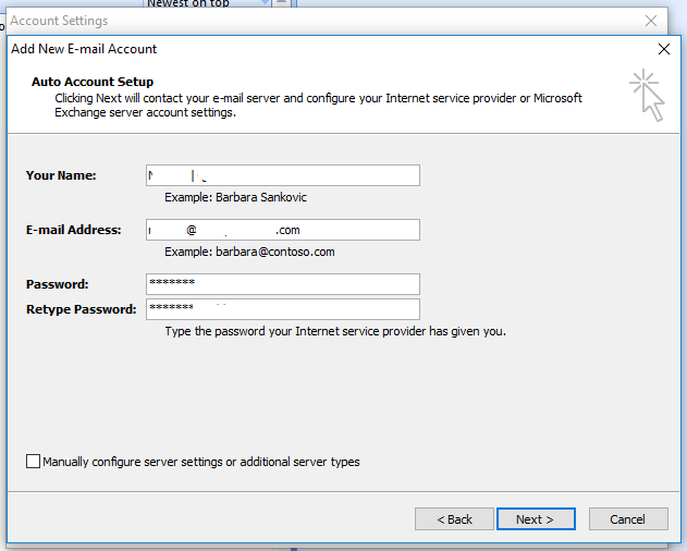 Outlook Autodiscover - Add Email Account - Account Details