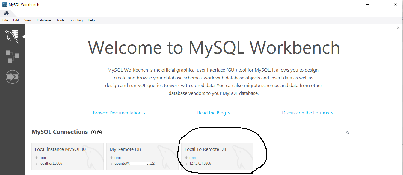 Remote Connection To MySQL Over SSH Tunnel - Workbench - Connections