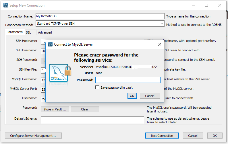 Workbench - MySQL Server - SSH Tunnel - Password