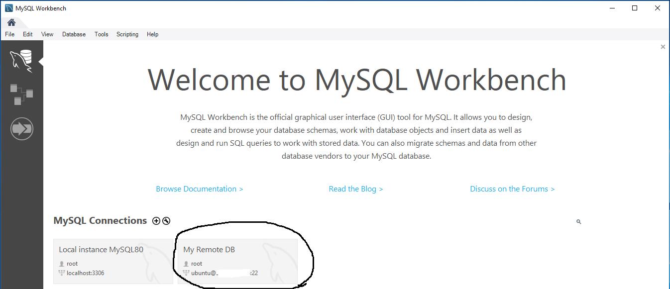 Workbench - MySQL Server - SSH Tunnel - Connections