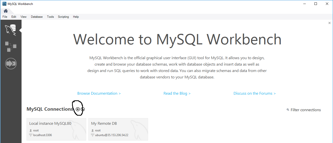 Remote Connection To MySQL Over SSH Tunnel - Workbench - Home