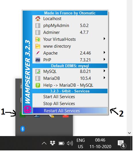 WampServer - Windows - Restart
