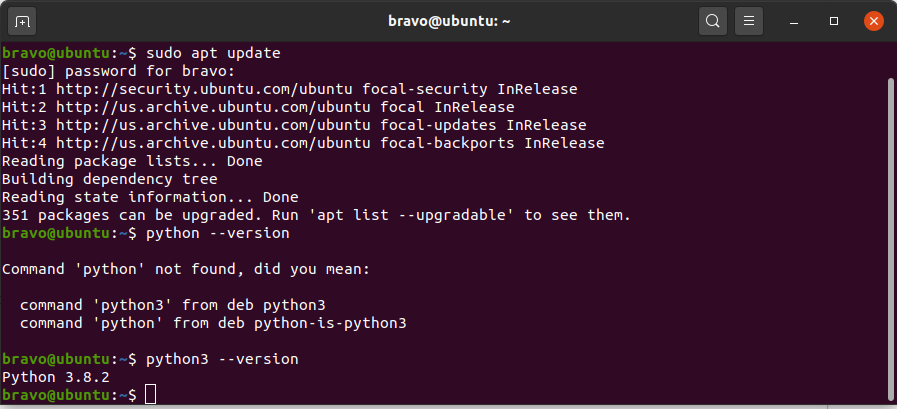 Python 3.9 On Ubuntu 20.04 LTS - Check Version