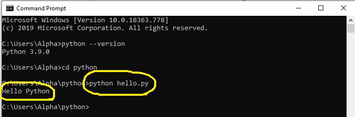 Install Python 3.9 On Windows 10 - Program Output