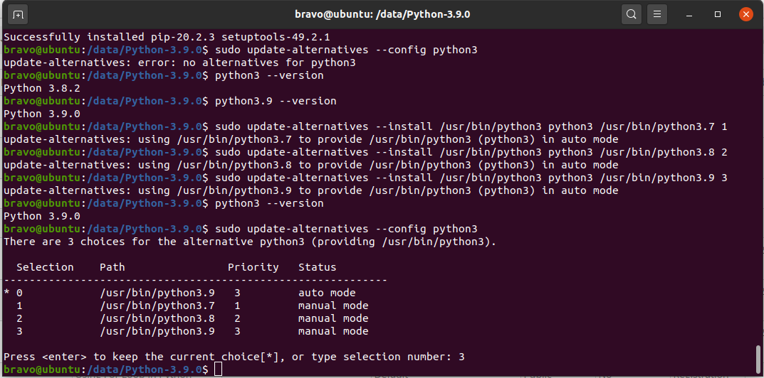 Python 3.9 On Ubuntu 20.04 LTS - Switch Version