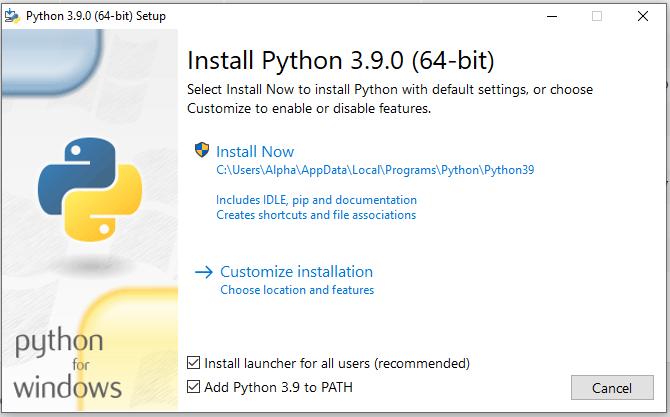 Install Python 3.9 On Windows 10 - Setup