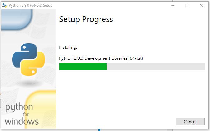 Install Python 3.9 On Windows 10 - Progress