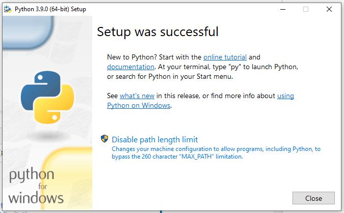 Install Python 3.9 On Windows 10 - Success