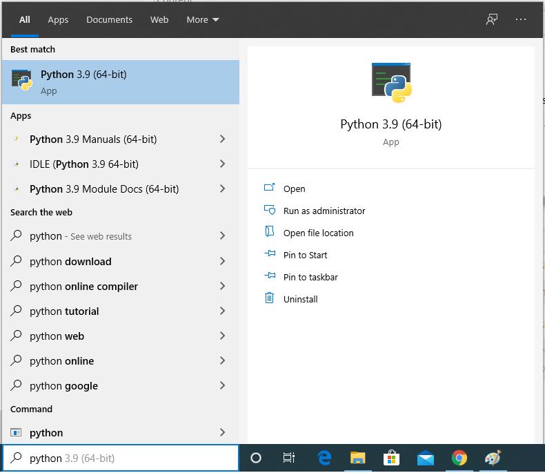 Install Python 3.9 On Windows 10 - Search