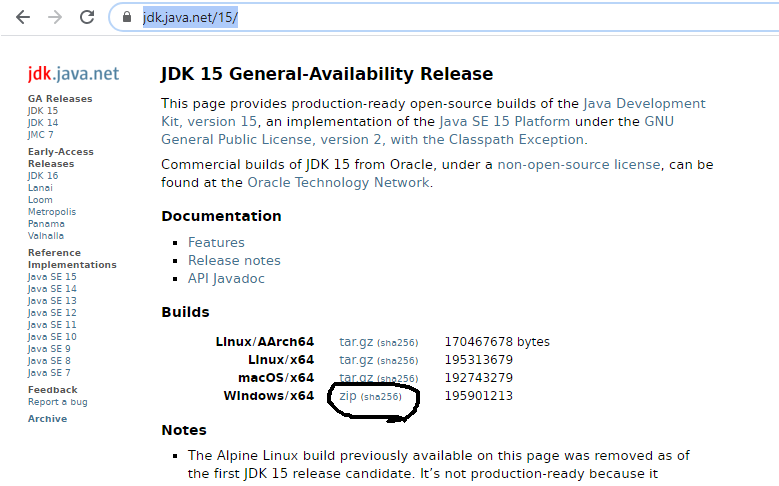 Install OpenJDK 15 on Windows 10 - Downloads