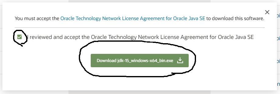 Install Java 15 on Windows 10 - Accept License