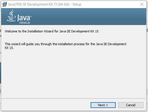 Install Java 15 on Windows 10 - Welcome