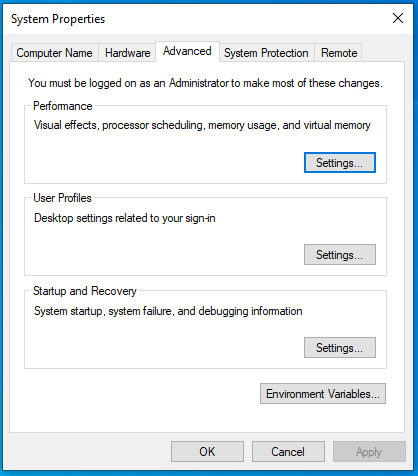 Install OpenJDK 15 on Windows 10 - Advanced Settings