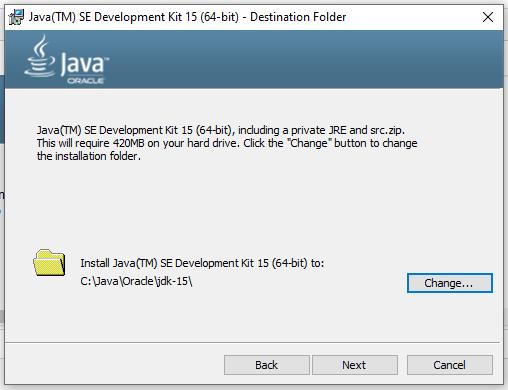 Install Java 15 on Windows 10 - Installation Path