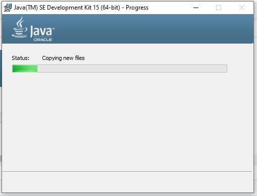 Install Java 15 on Windows 10 - Progress