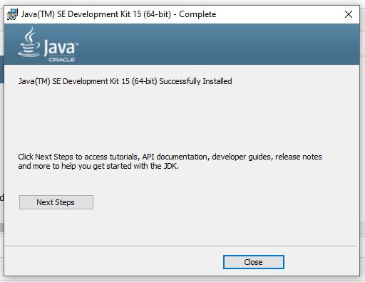 Install Java 15 on Windows 10 - Installed