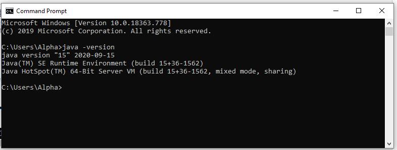 Install Java 15 on Windows 10 - Verify