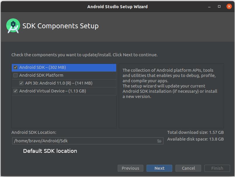 Install Andriod Studio On Ubuntu 20.04 - SDK Components
