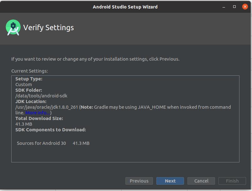 Install Andriod Studio On Ubuntu 20.04 - Verify Settings