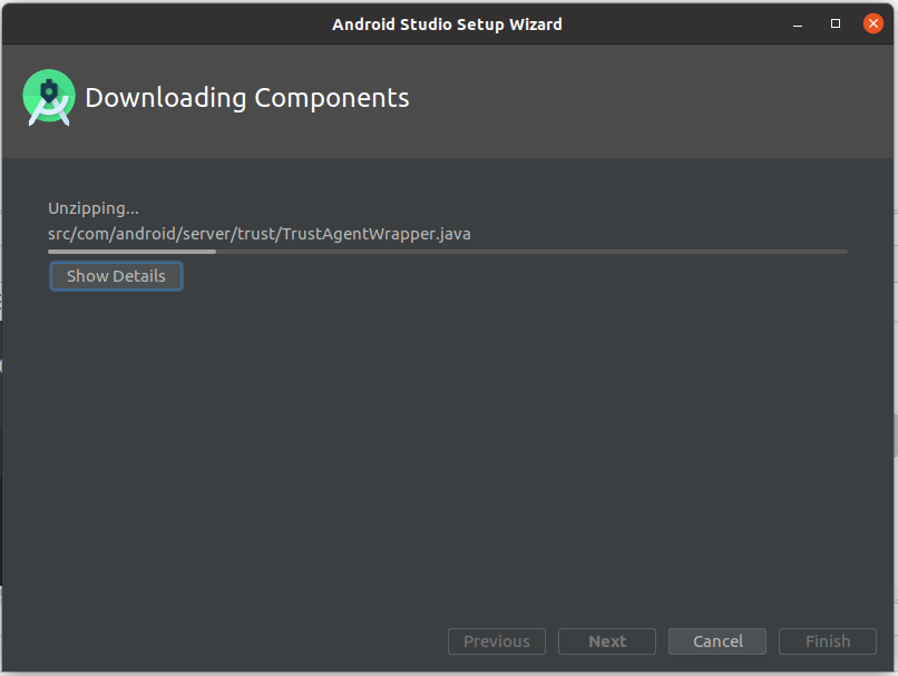 Install Andriod Studio On Ubuntu 20.04 - Components Progress