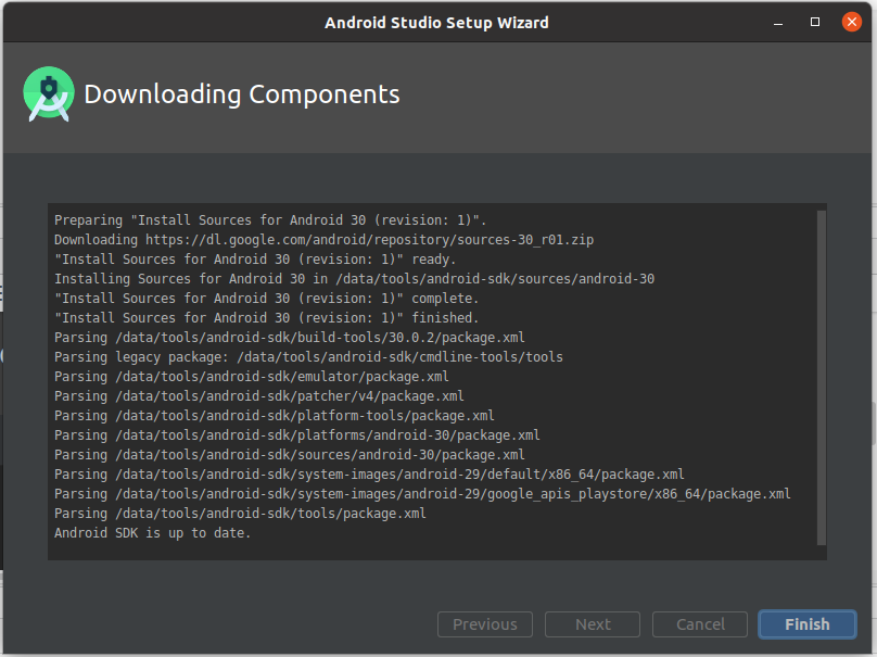 Install Andriod Studio On Ubuntu 20.04 - Components Done