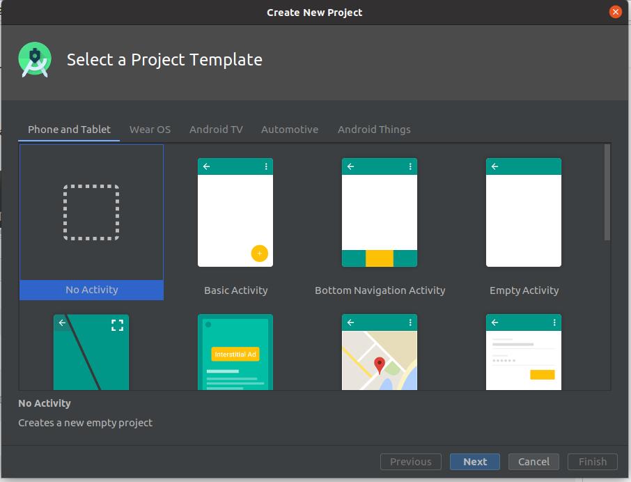 Install Andriod Studio On Ubuntu 20.04 - Choose Project Template