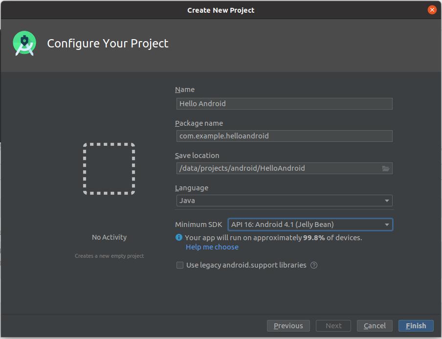Install Andriod Studio On Ubuntu 20.04 - Configure Project