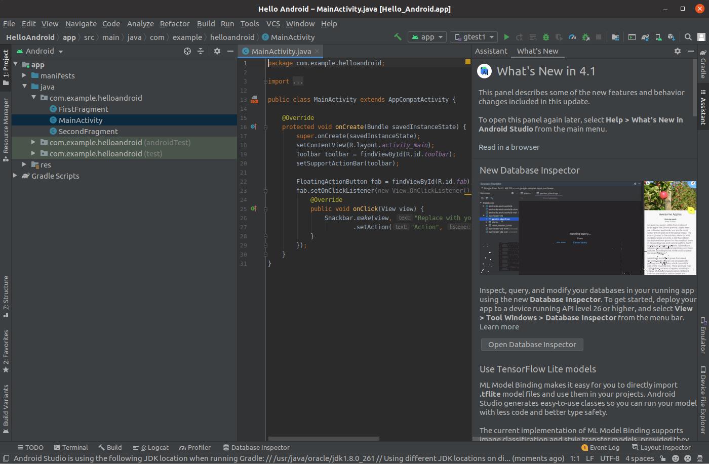 Install Andriod Studio On Ubuntu 20.04 - Default Activity
