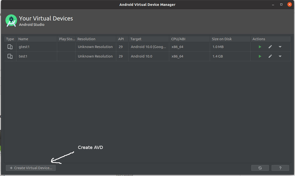 Install Andriod Studio On Ubuntu 20.04 - AVD Manager
