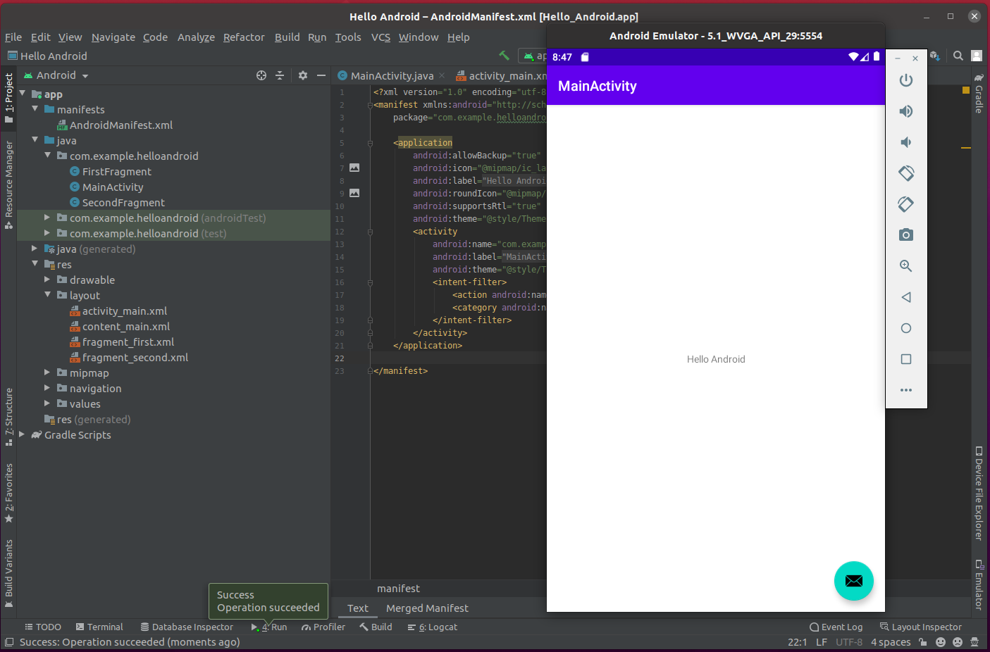 Install Andriod Studio On Ubuntu 20.04 - Hello World