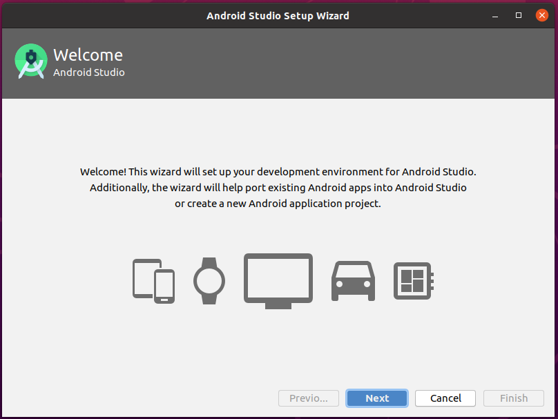 Install Andriod Studio On Ubuntu 20.04 - Welcome