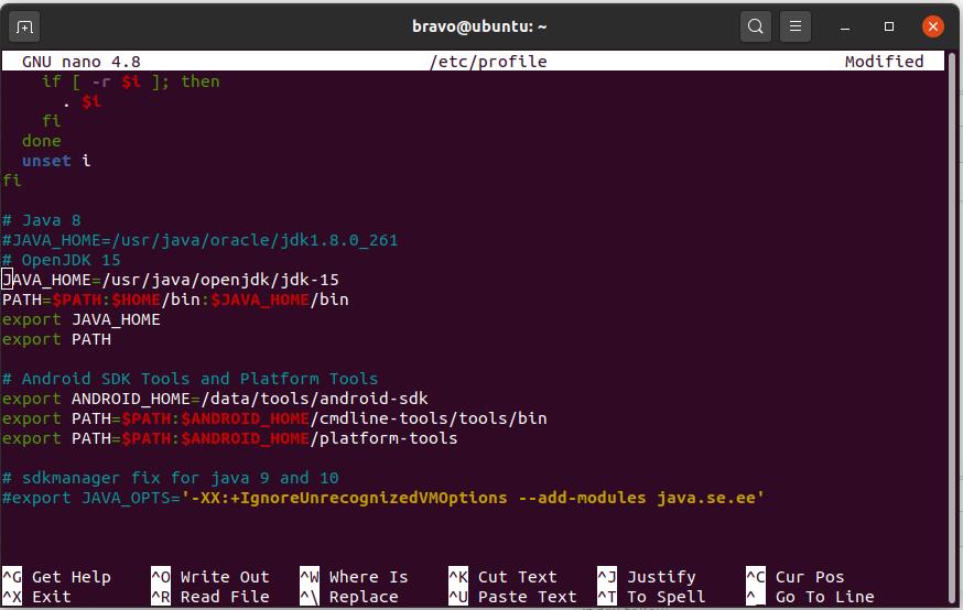 Install Android SDK Tools On Ubuntu 20.04 - Path