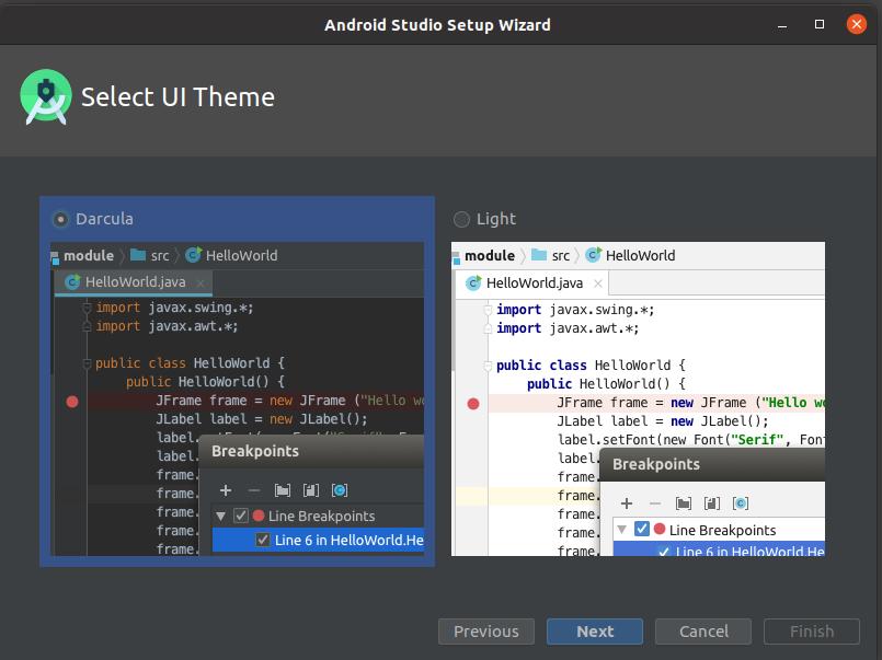 Install Andriod Studio On Ubuntu 20.04 - Theme