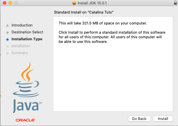 Install Java 15 On Mac - Installation Type