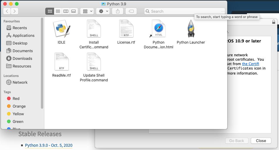 Install Python 3.9 On Mac - Location