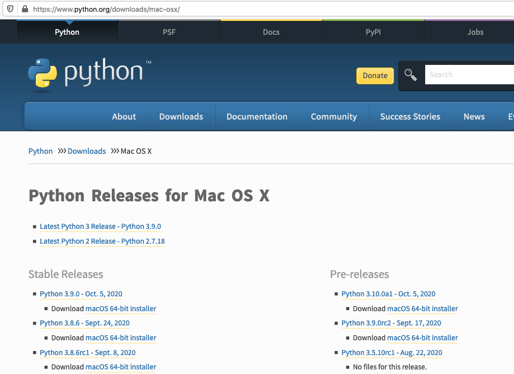 Install Python 3.9 On Mac - Available Versions