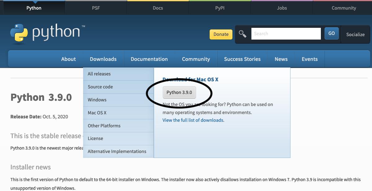 Install Python 3.9 On Mac - Download
