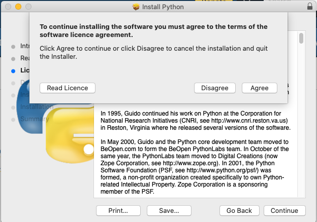 Install Python 3.9 On Mac - Accept License