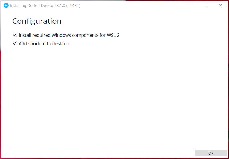Install Docker Desktop on Windows 10 - Configuration