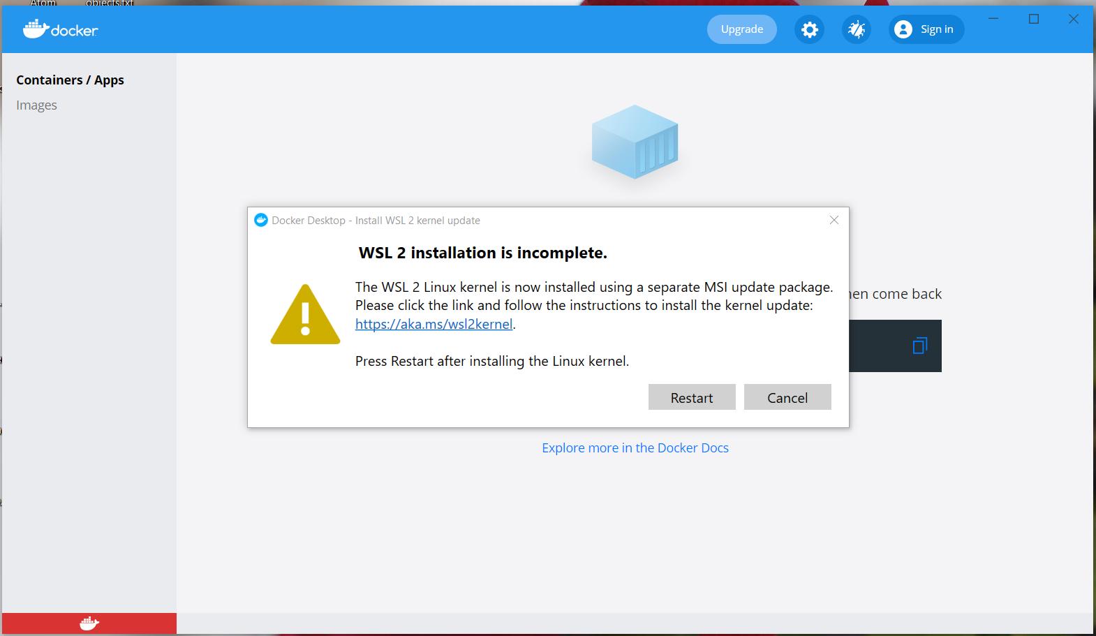 Install Docker Desktop on Windows 10 - WSL Update