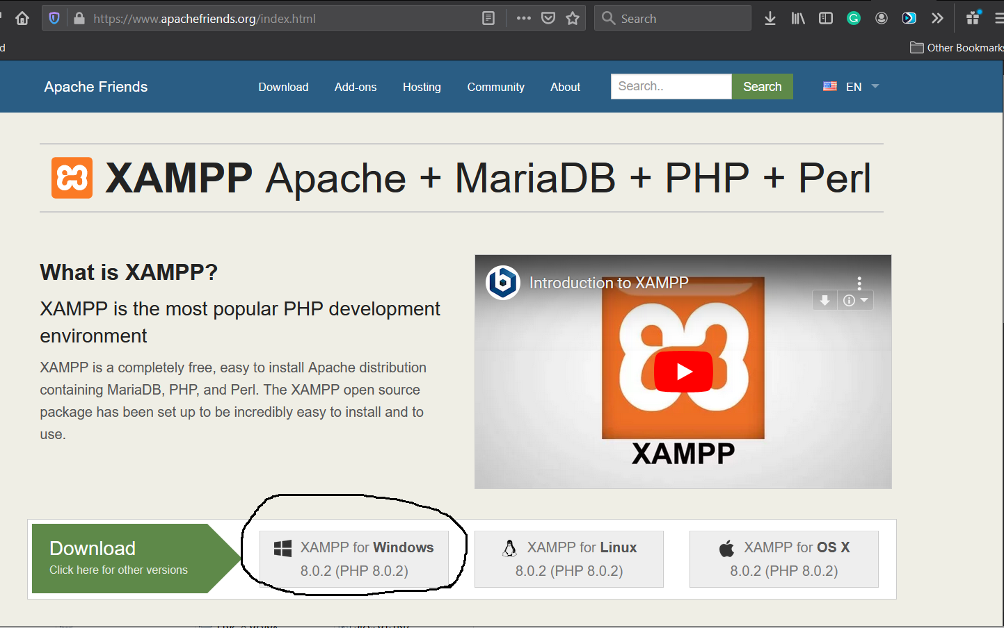 Install XAMPP on Windows 10 - Download Options - Apache Friends
