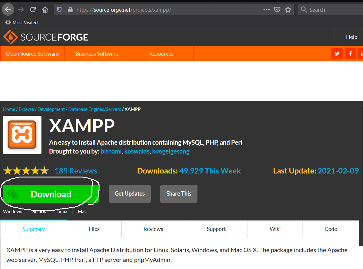 Install XAMPP on Windows 10 - Download Options