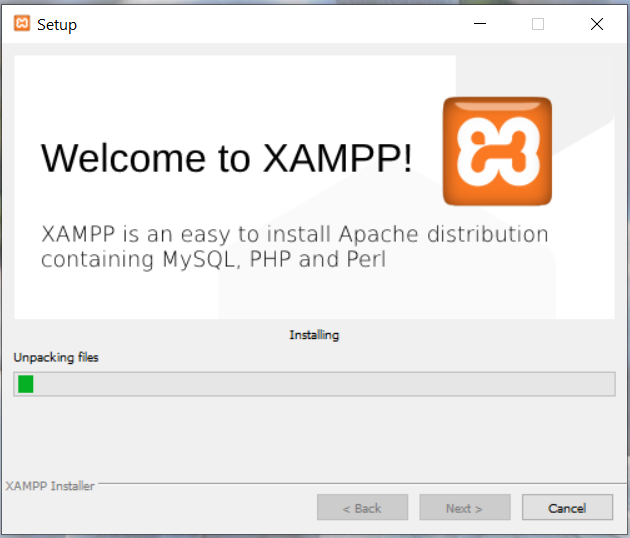 Install XAMPP With PHP 8 on Windows 10 - Installation Progress