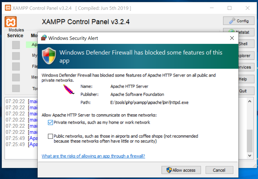Install XAMPP on Windows 10 - Security Warning