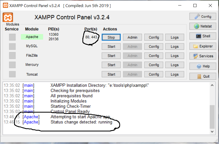Install XAMPP on Windows 10 - Apache Status
