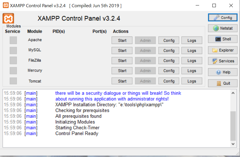 Install XAMPP With PHP 8 on Windows 10 - Control Panel