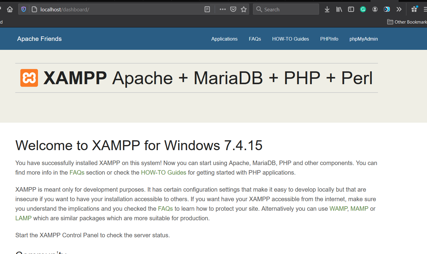 Install XAMPP on Windows 10 - Dashboard